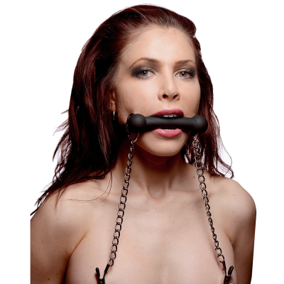 Black Equine Silicone Bit Gag with Nipple Clamps